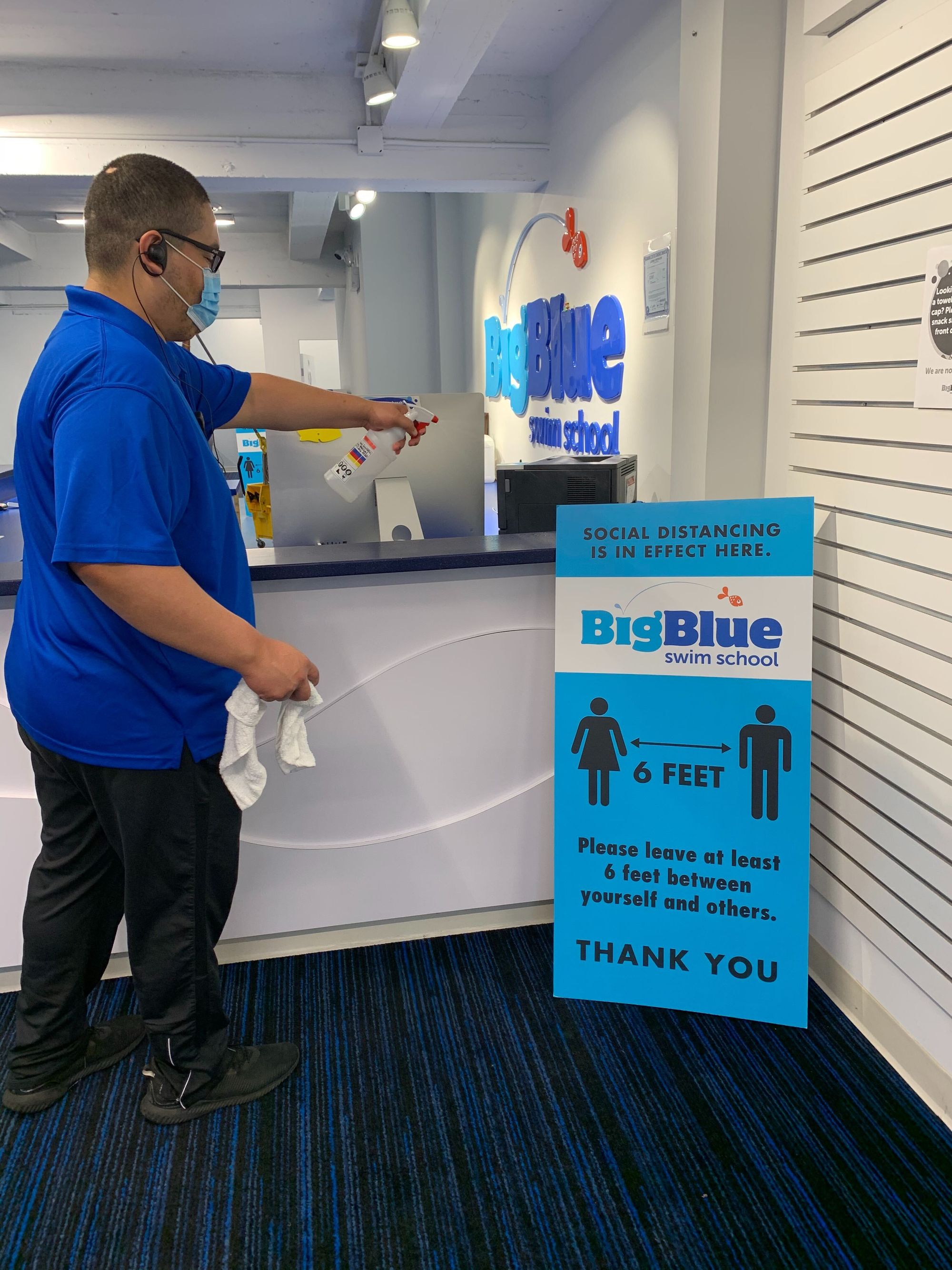 Big Blue staff members disinfect all high touch surfaces every 30 minutes