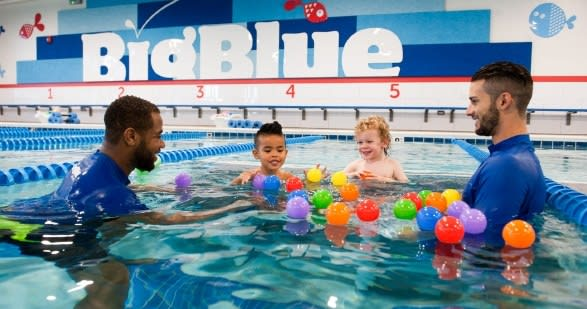 Big Blue Swim School Instructor and Kids