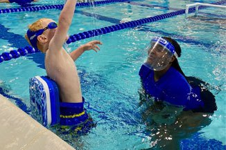 Big Blue Swim School Lessons with Face Shield